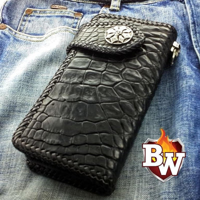 Black Croc Style 4 Plain Jane Exotic 8-inch  Men's Biker Wallet | Custom Handmade Men's Leather Wallets at Biker-Wallets.com