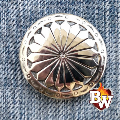 Black Silver Big Radial  .925 Silver Snap Concho Cap for Biker Wallet | Custom Handmade Men's Leather Wallets at Biker-Wallets.com