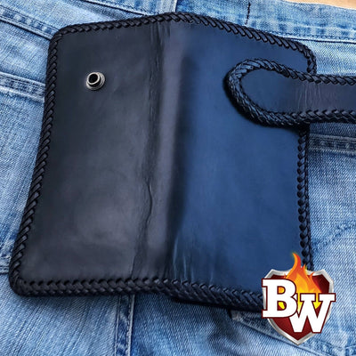 """Pool Hall"" 8"" Leather Handmade Biker Wallet"