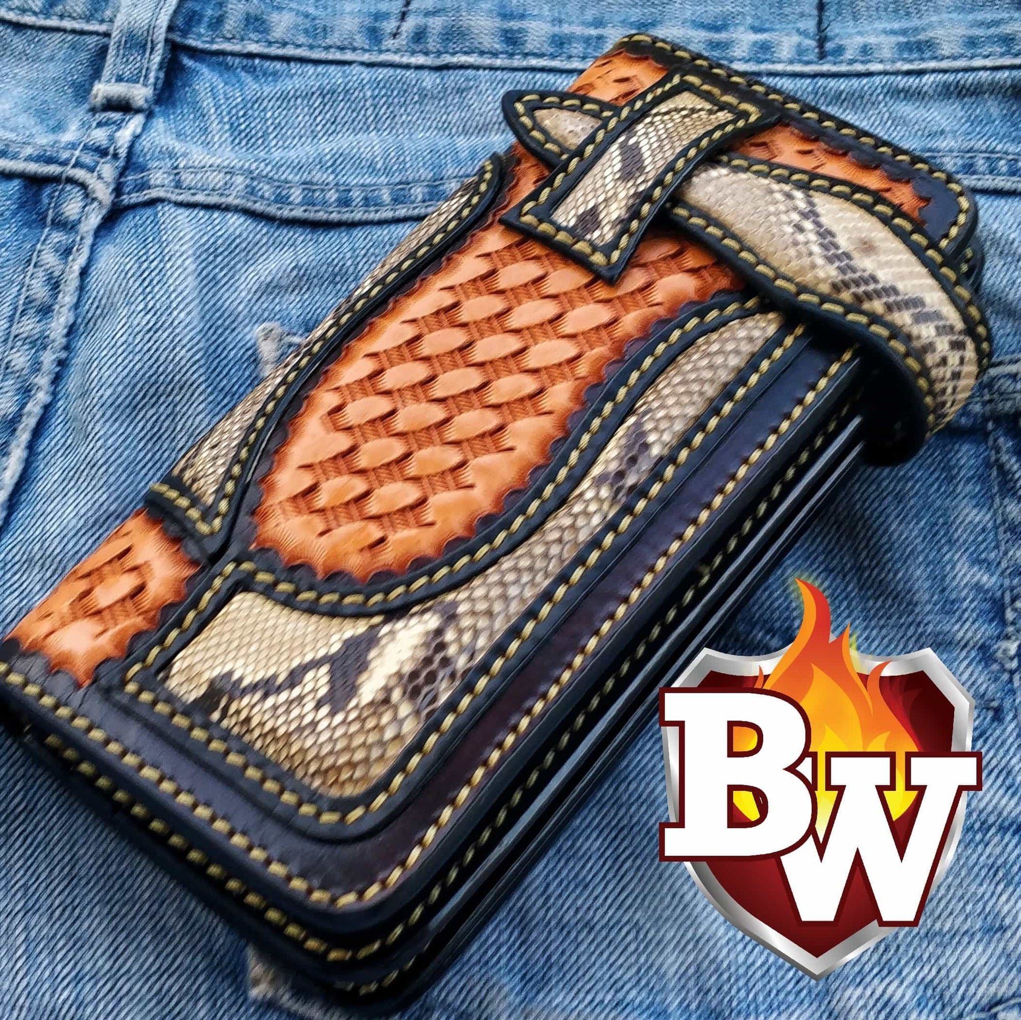 """Precision"" 8"" Handmade Leather and Snake Skin Biker Wallet"