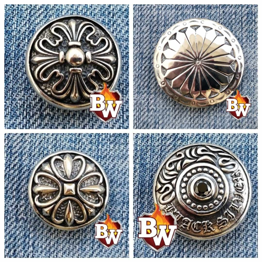 """Radial"" -Set 2- .925 Silver Snap Concho Cap for Biker Wallet"