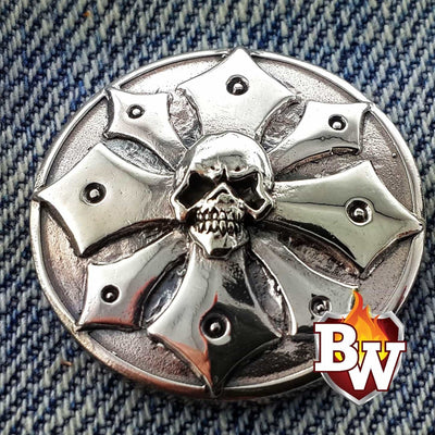 Evil Skulls  .925 Silver Snap Concho Cap For Biler Wallet | Custom Handmade Men's Leather Wallets at Biker-Wallets.com