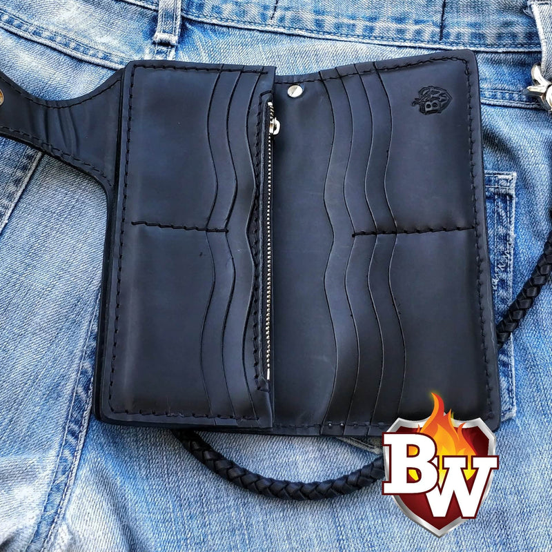 Rango 8-inch Black  Leather Men's Biker Wallet | Custom Handmade Men's Leather Wallets at Biker-Wallets.com