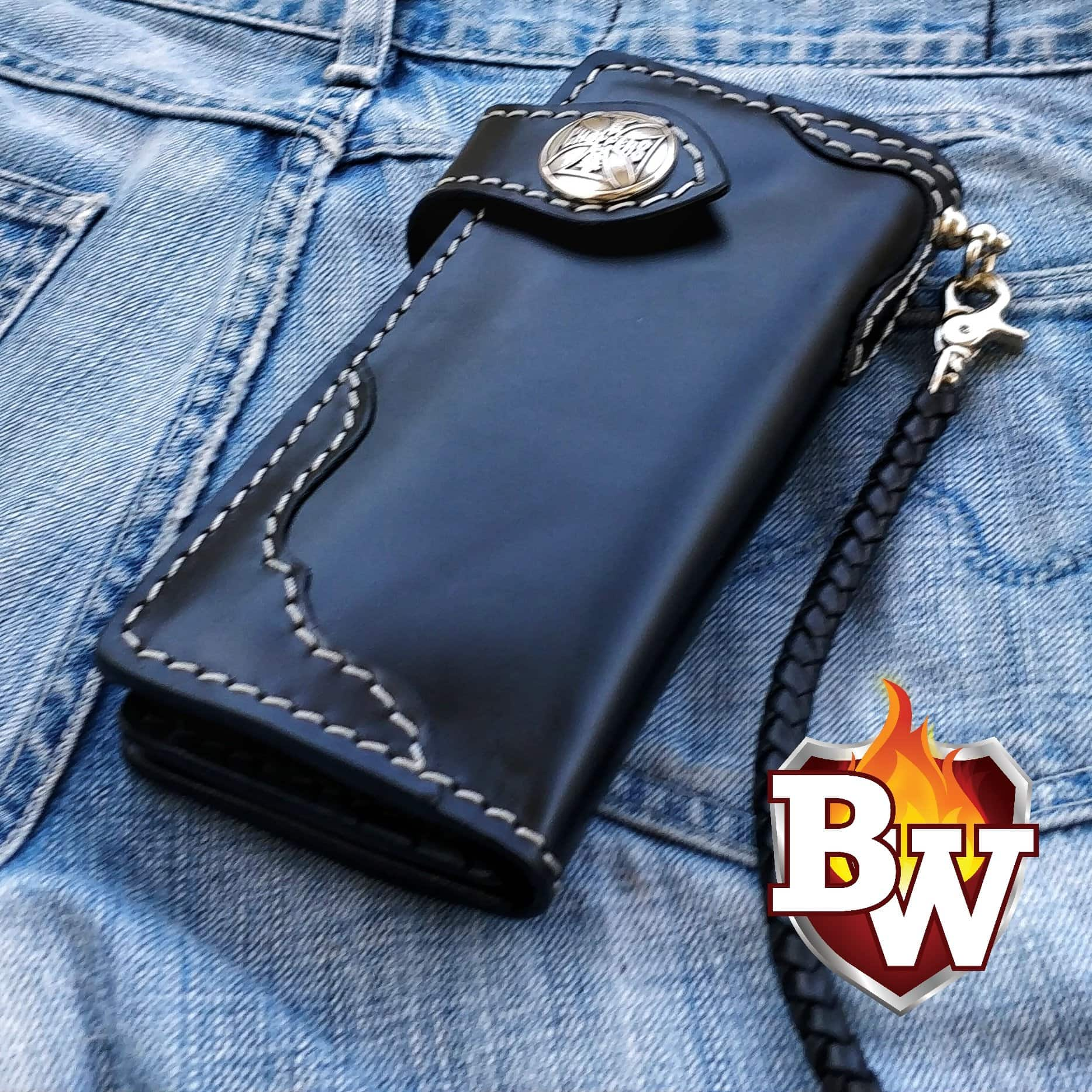 """Rango"" 8"" Black Custom Handmade Leather Men's Biker Wallet"