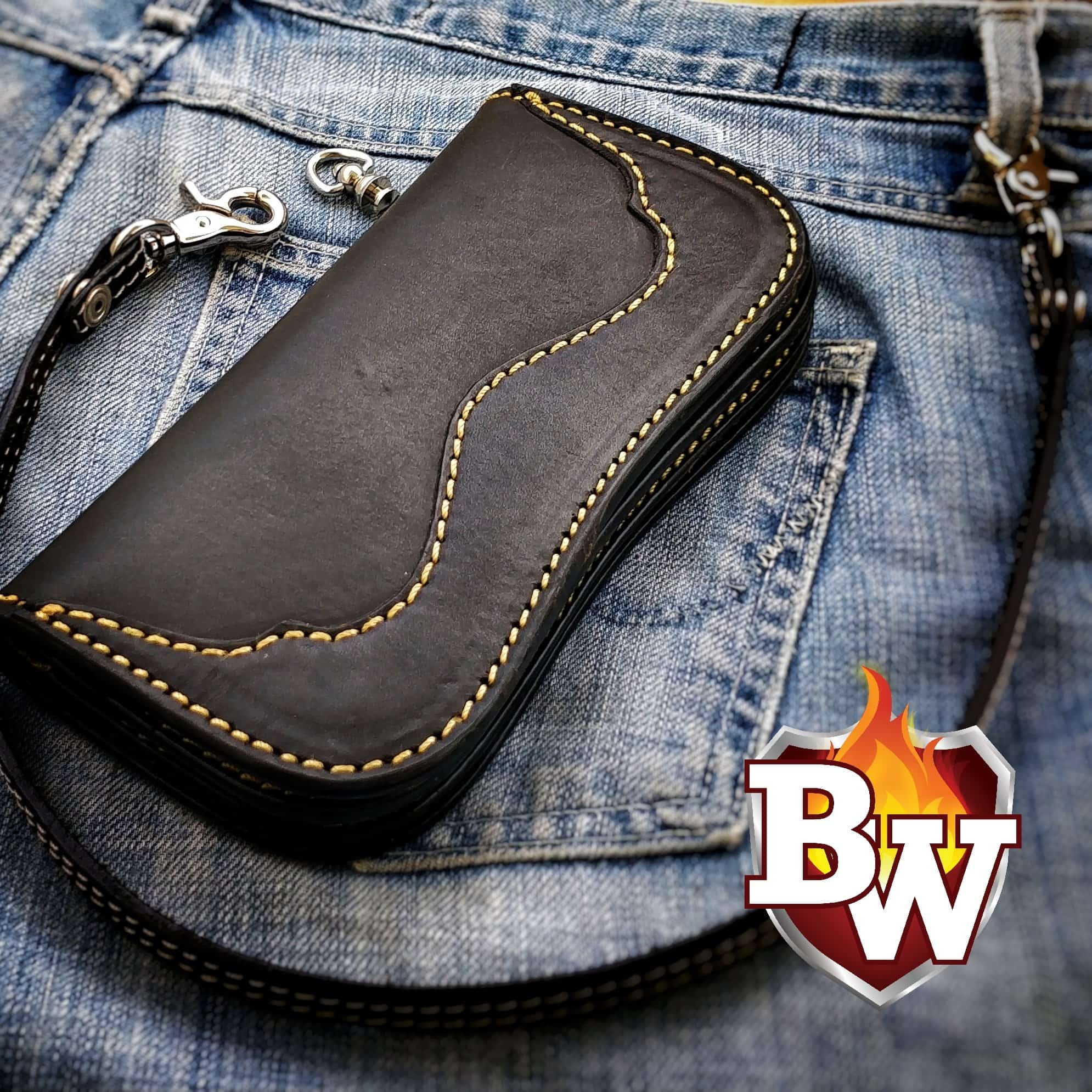"The ""Raven"" 8"" Leather Handmade Biker Wallet"