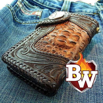 Brown Reaper 6-inch Pip Squeek  Men's Biker Chain Wallet | Custom Handmade Men's Leather Wallets at Biker-Wallets.com