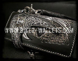 """Reaper V2"" 8"" Natural Custom Handmade Hand Tooled Leather Men's Biker Wallet - Biker Wallets"
