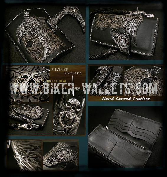 Reaper V2 8 Natural Custom Handmade Hand Tooled Leather Men's Biker Wallet - Handcrafted Quality Genine Leather Backed by a 5-Year Warranty - Biker-Wallets.com