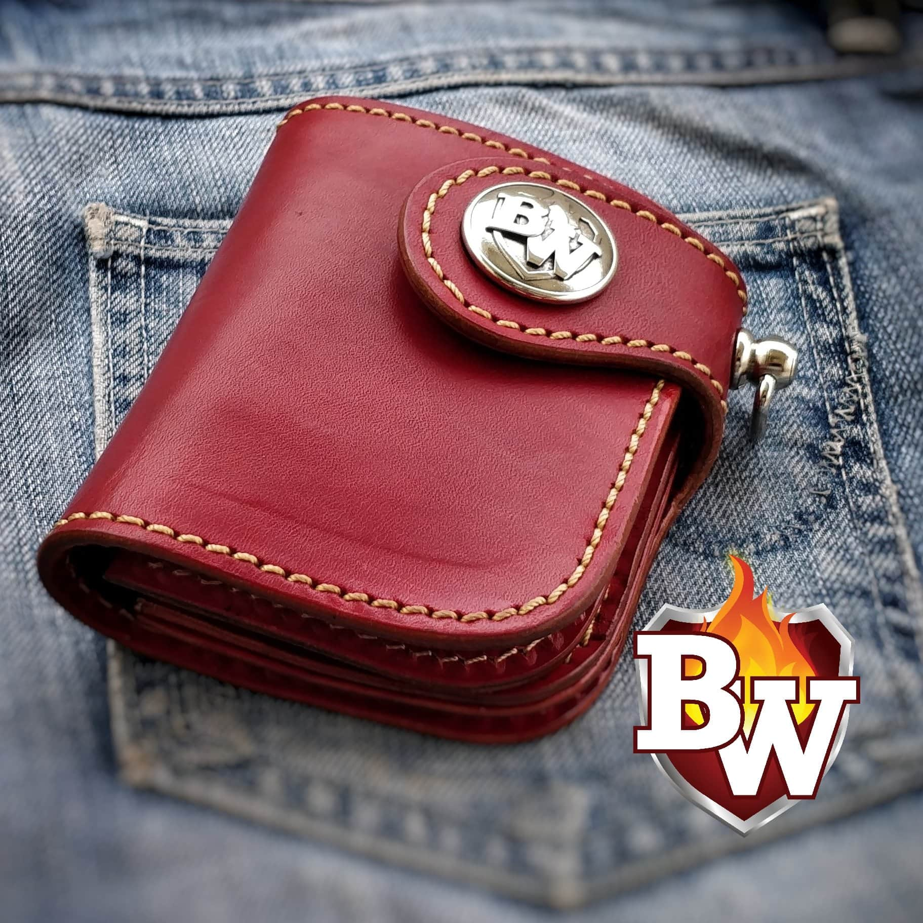"""Mini Red"" 5"" Leather Handmade Biker Wallet"