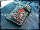 Redbeard's Skull 6 Custom Handmade Stingray Men's Biker Wallet - Handcrafted Quality Genine Leather Backed by a 5-Year Warranty - Biker-Wallets.com