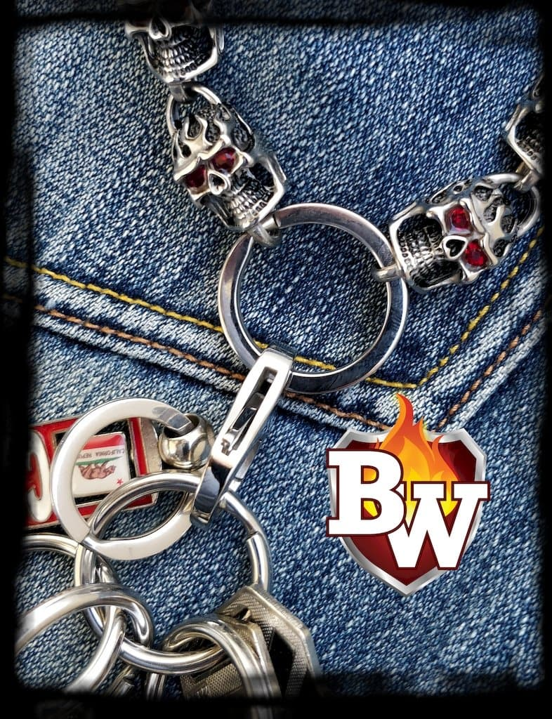 Red Eye Stainless Steel Biker Wallet Chain with Flaming Skulls | Custom Handmade Men's Leather Wallets at Biker-Wallets.com