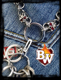 Red Eye Stainless Steel Biker Wallet Chain with Flaming Skulls - Handcrafted Quality Genine Leather Backed by a 5-Year Warranty - Biker-Wallets.com