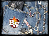 """Red Eye"" Stainless Steel Biker Wallet Chain with Flaming Skulls"