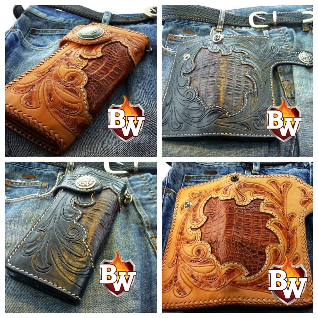 """Reveal"" 8"" Dark Brown Custom Handmade Men's Biker Chain Wallet"