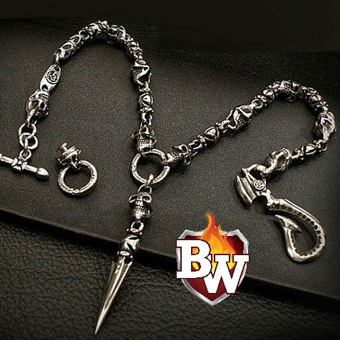 """Revenge"" Custom .925 Silver Men's Biker Wallet Chain"