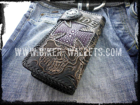 """Ride To Live"" 8"" Custom Handmade Stingray Men's Biker Wallet"