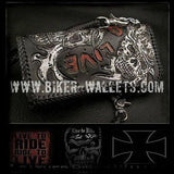 """Ride To Live"" Black 8"" Custom Handmade Stingray Men's Biker Wallet"