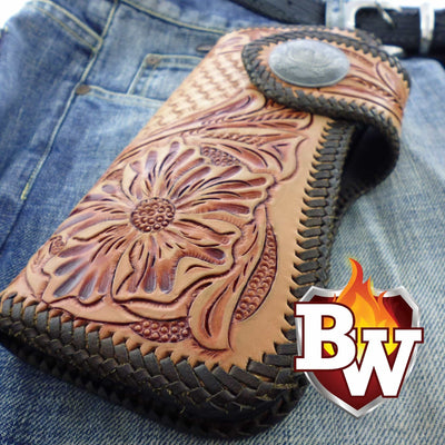 Style 4 Rider 8-inch  Leather Men's Biker Wallet | Custom Handmade Men's Leather Wallets at Biker-Wallets.com