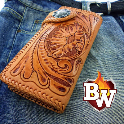 Style 7 Rider 8-inch  Leather Men's Biker Wallet | Custom Handmade Men's Leather Wallets at Biker-Wallets.com