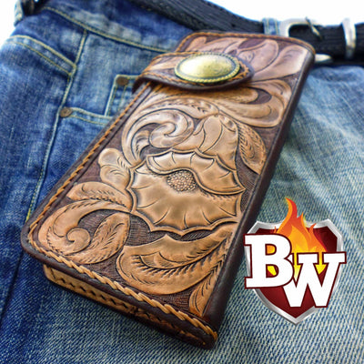 Style 5 Rider 8-inch  Leather Men's Biker Wallet | Custom Handmade Men's Leather Wallets at Biker-Wallets.com