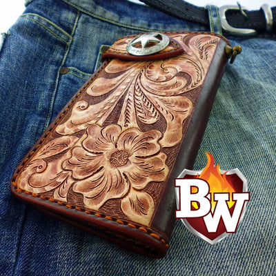 Style 8 Rider 8-inch  Leather Men's Biker Wallet | Custom Handmade Men's Leather Wallets at Biker-Wallets.com