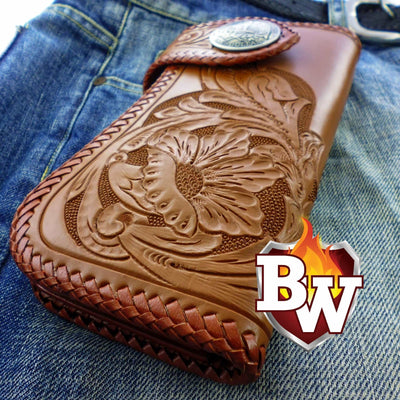 Style 6 Rider 8-inch  Leather Men's Biker Wallet | Custom Handmade Men's Leather Wallets at Biker-Wallets.com