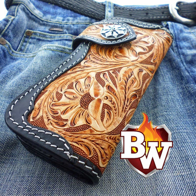 Style 3 Rider 8-inch  Leather Men's Biker Wallet | Custom Handmade Men's Leather Wallets at Biker-Wallets.com