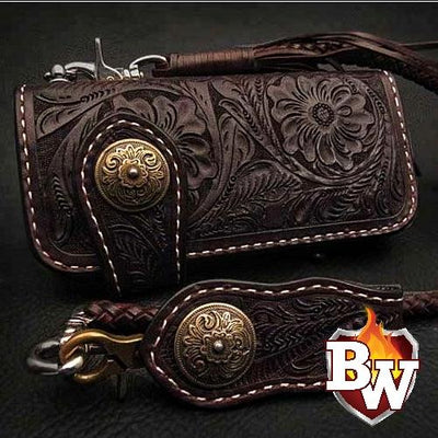 Style 12 Rider 8-inch  Leather Men's Biker Wallet | Custom Handmade Men's Leather Wallets at Biker-Wallets.com