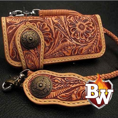 Style 13 Rider 8-inch  Leather Men's Biker Wallet | Custom Handmade Men's Leather Wallets at Biker-Wallets.com