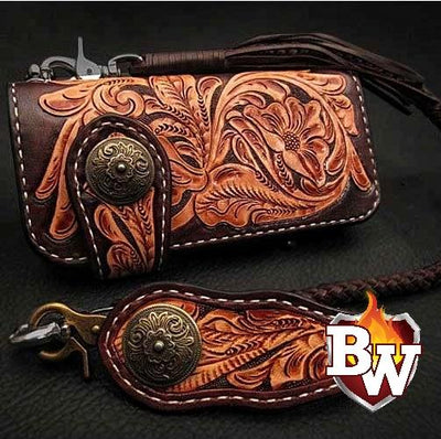 Style 11 Rider 8-inch  Leather Men's Biker Wallet | Custom Handmade Men's Leather Wallets at Biker-Wallets.com