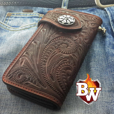 Rider 8-inch  Leather Men's Biker Wallet | Custom Handmade Men's Leather Wallets at Biker-Wallets.com