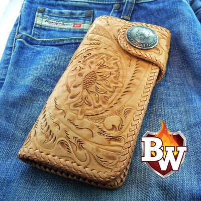Style 15 Rider 8-inch  Leather Men's Biker Wallet | Custom Handmade Men's Leather Wallets at Biker-Wallets.com