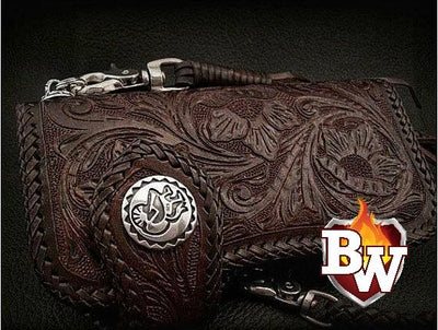 Style 10 Rider 8-inch  Leather Men's Biker Wallet | Custom Handmade Men's Leather Wallets at Biker-Wallets.com