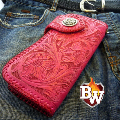 Style 14 Rider 8-inch  Leather Men's Biker Wallet | Custom Handmade Men's Leather Wallets at Biker-Wallets.com