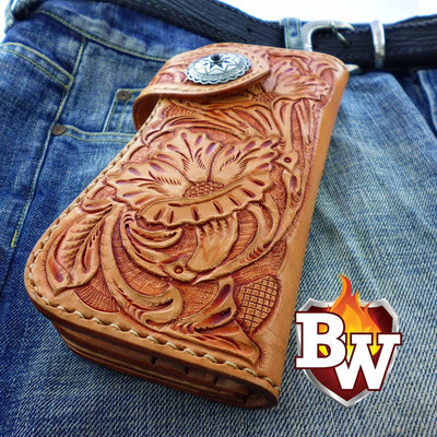 Style 9 Rider 8-inch  Leather Men's Biker Wallet | Custom Handmade Men's Leather Wallets at Biker-Wallets.com