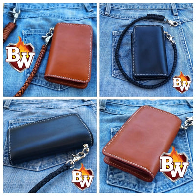 Black Roadster 6-inch  Leather Men's Biker Wallet | Custom Handmade Men's Leather Wallets at Biker-Wallets.com