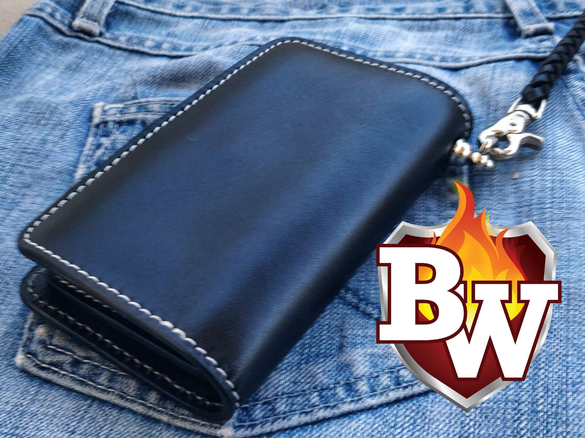 """Roadster"" 6"" Custom Handmade Black Leather Men's Biker Wallet"