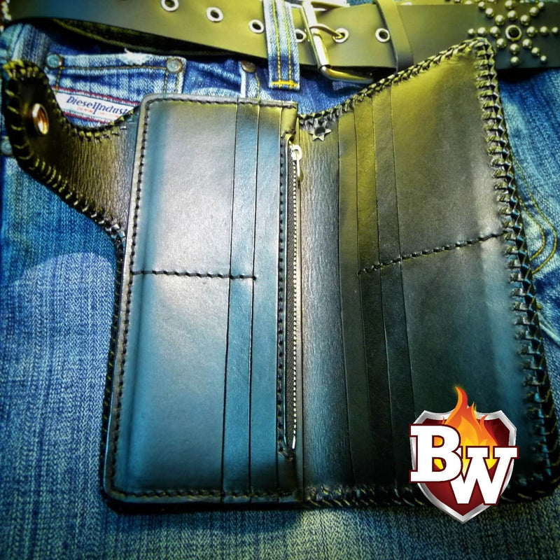 """Rock and Roll"" 8"" Custom Handmade Leather Men's Biker Wallet"