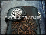 """Rock and Roll"" 6"" Custom Handmade Leather Men's Biker Wallet"