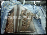 Rock and Roll 6 Custom Handmade Leather Men's Biker Wallet - Handcrafted Quality Genine Leather Backed by a 5-Year Warranty - Biker-Wallets.com