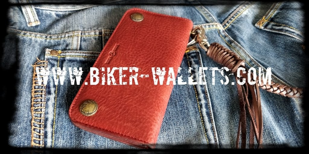 """ROT RALLY"" Brown 8"" Custom Handmade Biker Trucker Wallet"