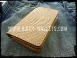 """20 Clicks Hammered"" 5"" Custom Handmade Hand Tooled Saddle Leather Biker Wallet"