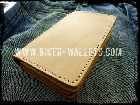 """20 Clicks Plain"" 5"" Custom Handmade Saddle Leather Biker Wallet"