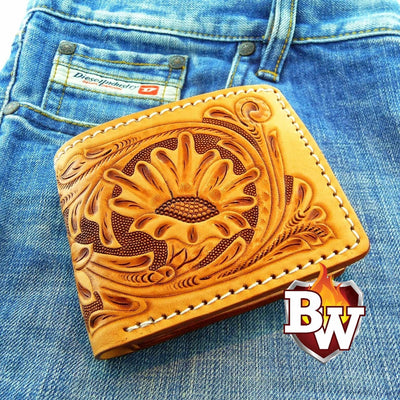 Natural Carved 2 Rugged Super Thick Top Grain Saddle Leather 5-inch Biker Wallet | Custom Handmade Men's Leather Wallets at Biker-Wallets.com