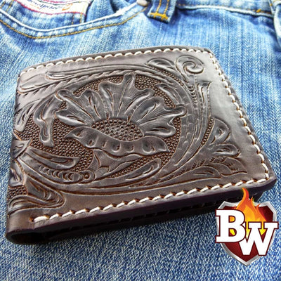 Brown Carved Rugged Super Thick Top Grain Saddle Leather 5-inch Biker Wallet | Custom Handmade Men's Leather Wallets at Biker-Wallets.com