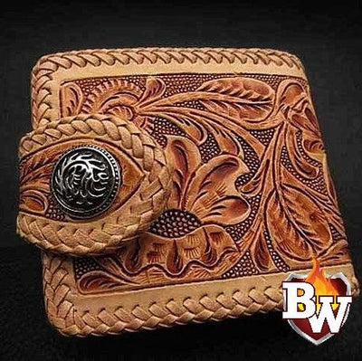 Brown Hand Carved Rugged Super Thick Top Grain Saddle Leather 5-inch Biker Wallet | Custom Handmade Men's Leather Wallets at Biker-Wallets.com