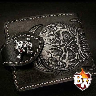 Skull Carved Rugged Super Thick Top Grain Saddle Leather 5-inch Biker Wallet | Custom Handmade Men's Leather Wallets at Biker-Wallets.com