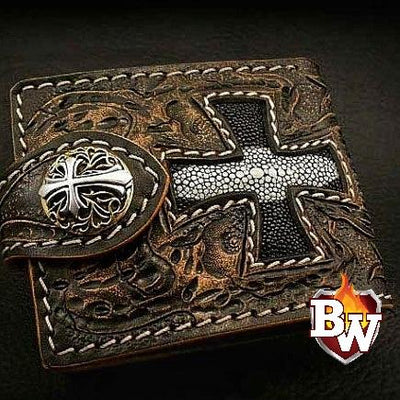 Iron Cross Stingray Rugged Super Thick Top Grain Saddle Leather 5-inch Biker Wallet | Custom Handmade Men's Leather Wallets at Biker-Wallets.com