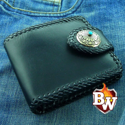 Black Leather Rugged Super Thick Top Grain Saddle Leather 5-inch Biker Wallet | Custom Handmade Men's Leather Wallets at Biker-Wallets.com