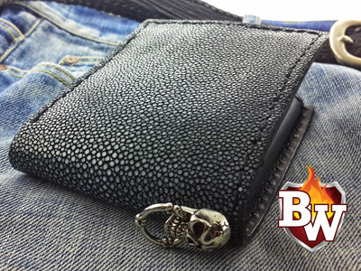 Stingray Rugged Super Thick Top Grain Saddle Leather 5-inch Biker Wallet | Custom Handmade Men's Leather Wallets at Biker-Wallets.com